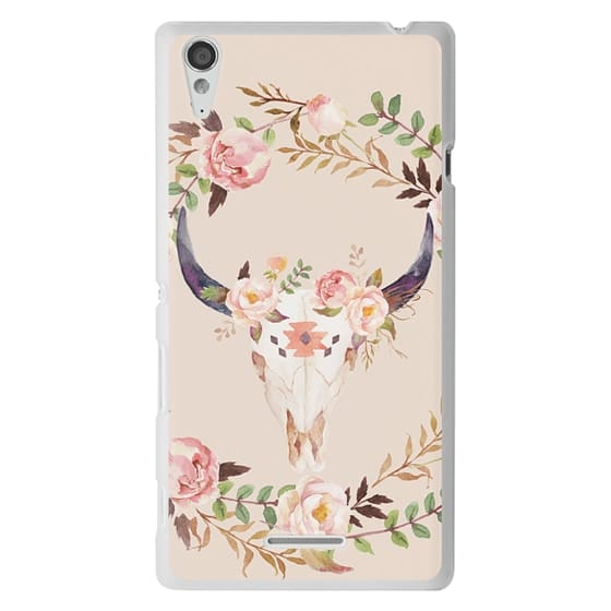Sony T3 Cases - Watercolour Floral Bull Skull