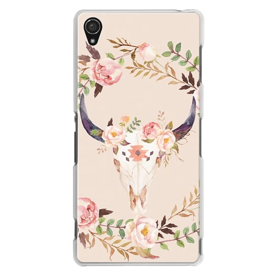 Sony Z3 Cases - Watercolour Floral Bull Skull