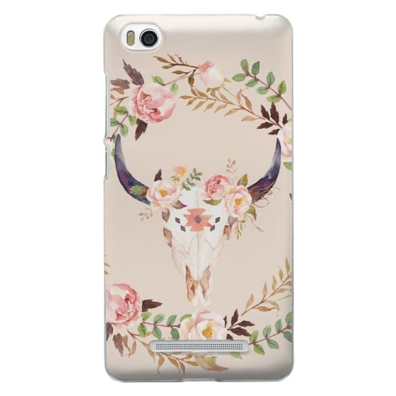 Xiaomi 4i Cases - Watercolour Floral Bull Skull