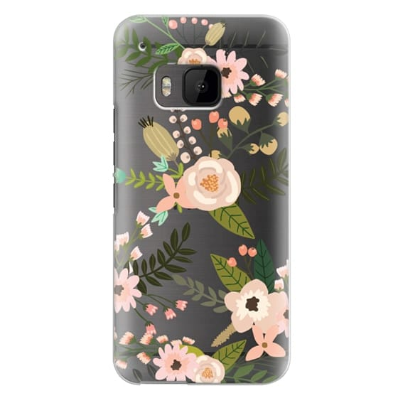 Htc One M9 Cases - Peachy Pink Florals - Trasparent