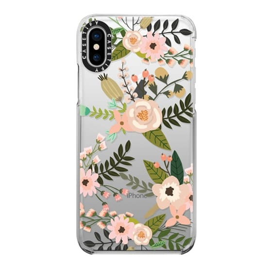 iPhone X Cases - Peachy Pink Florals - Trasparent