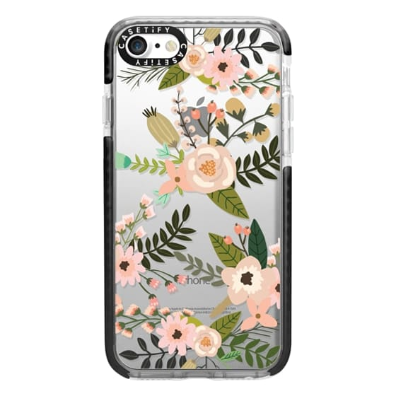 iPhone 7 Cases - Peachy Pink Florals - Trasparent