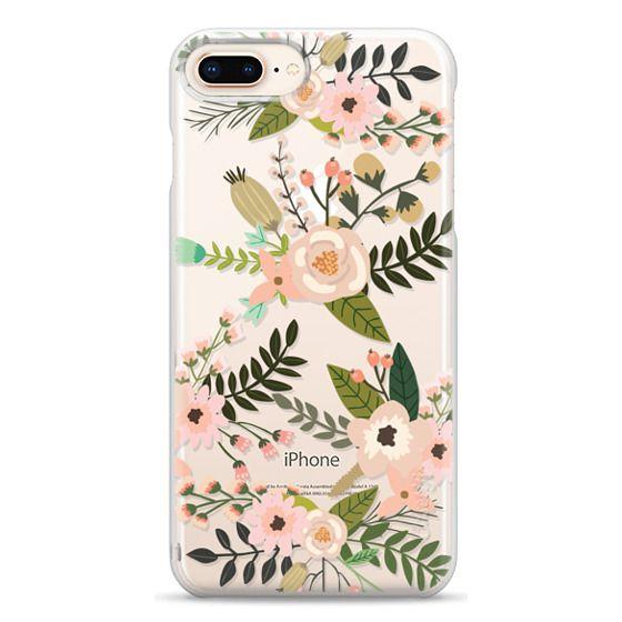 iPhone 8 Plus Cases - Peachy Pink Florals - Trasparent