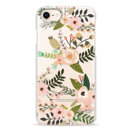 iPhone 8 Cases - Peachy Pink Florals - Trasparent