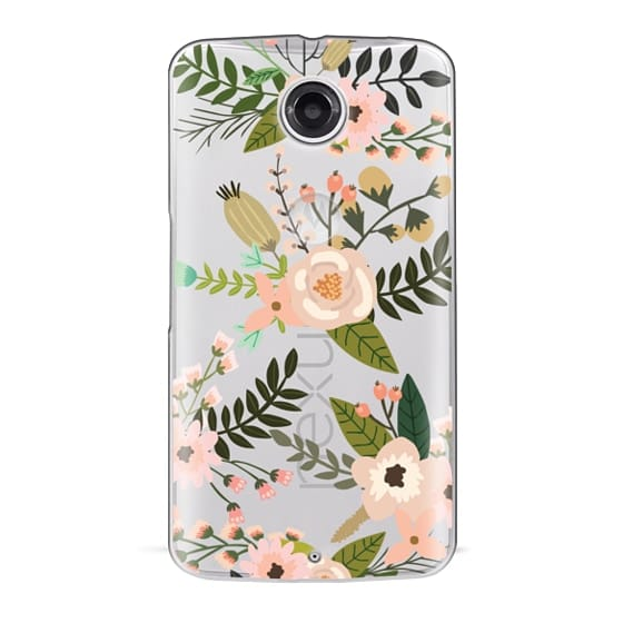 Nexus 6 Cases - Peachy Pink Florals - Trasparent