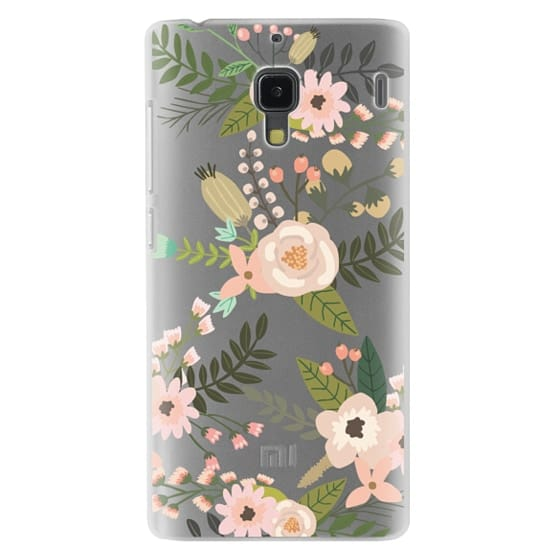 Redmi 1s Cases - Peachy Pink Florals - Trasparent