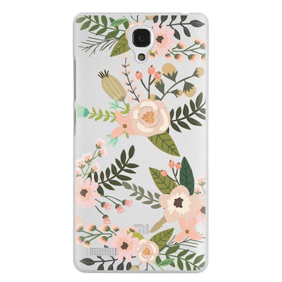 Redmi Note Cases - Peachy Pink Florals - Trasparent