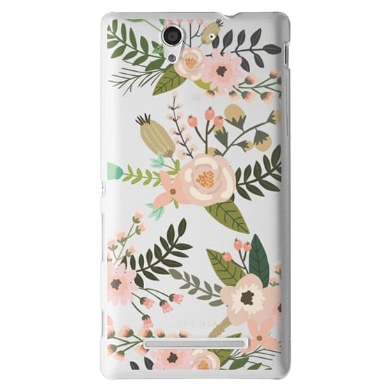 Sony C3 Cases - Peachy Pink Florals - Trasparent