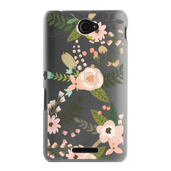 Sony E4 Cases - Peachy Pink Florals - Trasparent