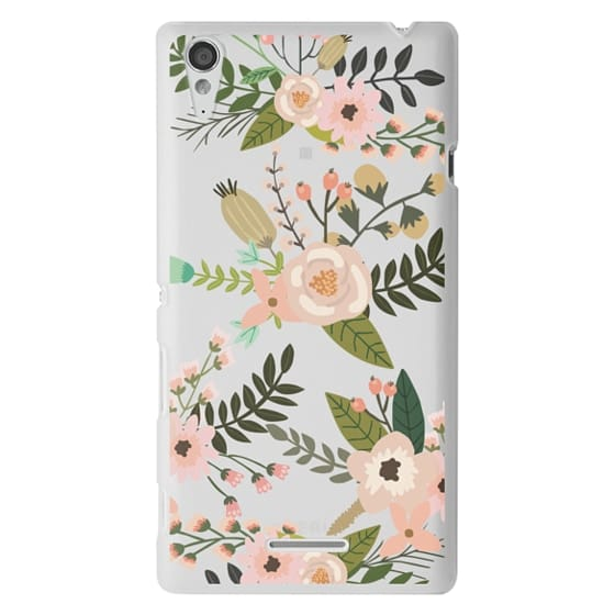Sony T3 Cases - Peachy Pink Florals - Trasparent