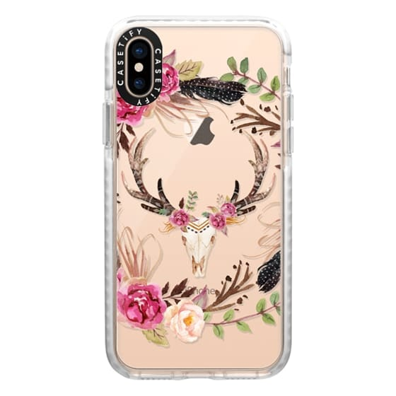 iPhone XS Cases - Watercolour Floral Deer Skull - Transparent