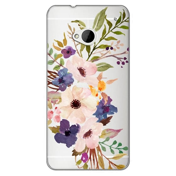 Htc One Cases - Watercolour Floral Bouquet 2 - Transparent