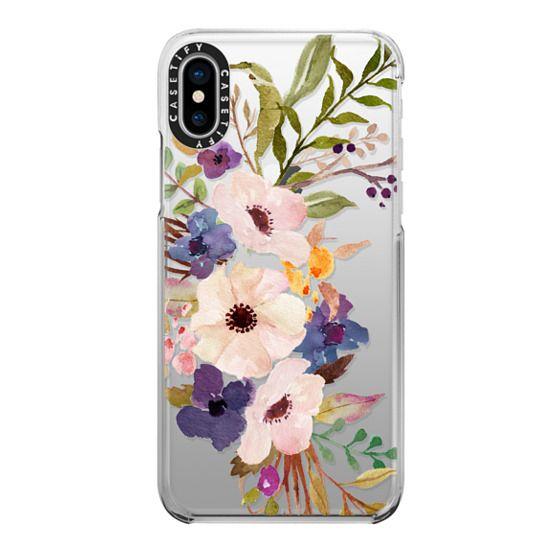 iPhone X Cases - Watercolour Floral Bouquet 2 - Transparent