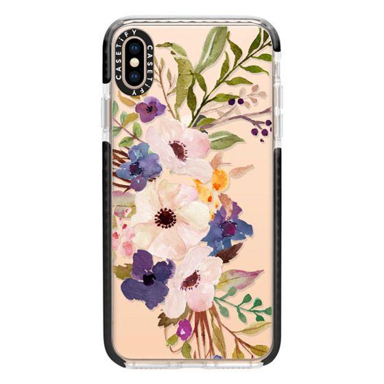 iPhone XS Max Cases - Watercolour Floral Bouquet 2 - Transparent