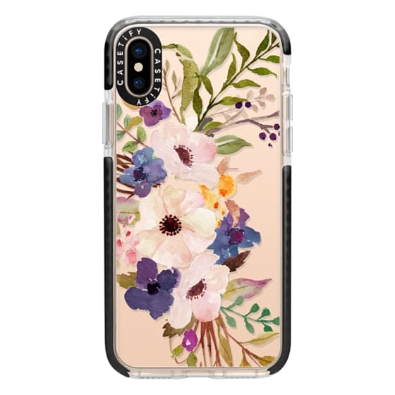 iPhone XS Cases - Watercolour Floral Bouquet 2 - Transparent