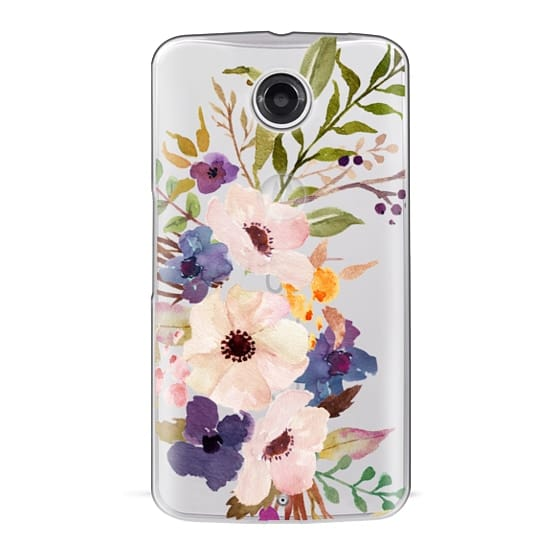 Nexus 6 Cases - Watercolour Floral Bouquet 2 - Transparent