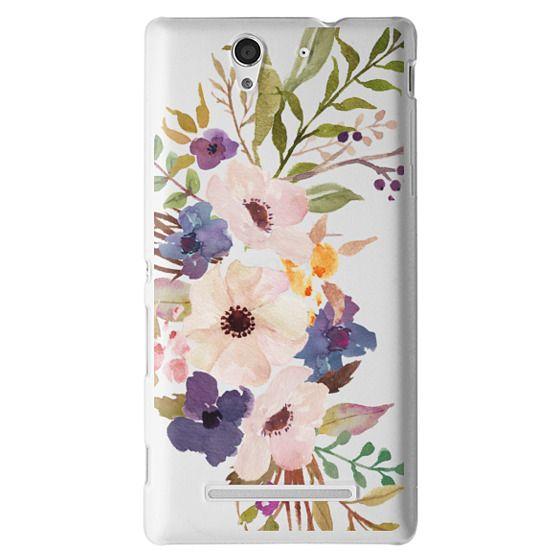 Sony C3 Cases - Watercolour Floral Bouquet 2 - Transparent