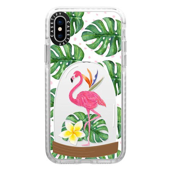 iPhone X Cases - Watercolor Flamingo Tropical Snowglobe