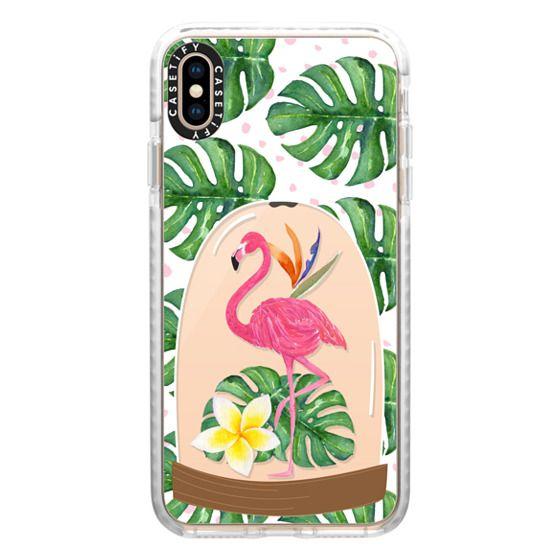 iPhone XS Max Cases - Watercolor Flamingo Tropical Snowglobe