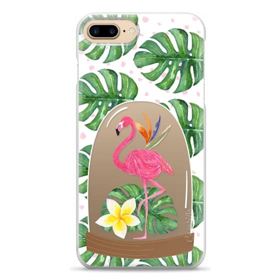 iPhone 7 Plus Cases - Watercolor Flamingo Tropical Snowglobe
