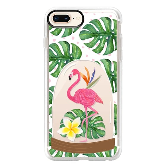 iPhone 8 Plus Cases - Watercolor Flamingo Tropical Snowglobe
