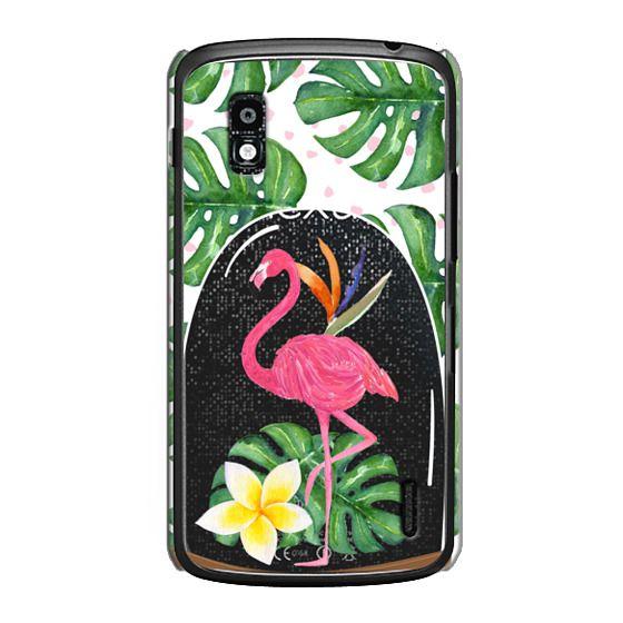 Nexus 4 Cases - Watercolor Flamingo Tropical Snowglobe