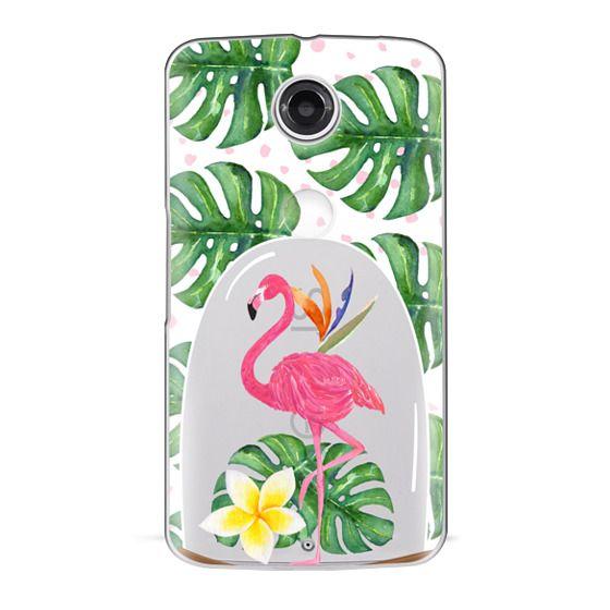 Nexus 6 Cases - Watercolor Flamingo Tropical Snowglobe