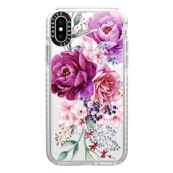 Impact iPhone X Case - Purple Peony Watercolor Floral Bouquet