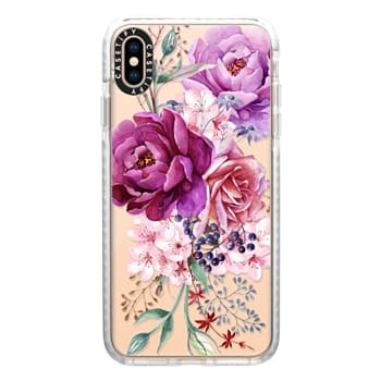 Impact iPhone Xs Max Case - Purple Peony Watercolor Floral Bouquet