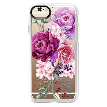 Grip iPhone 6 Case - Purple Peony Watercolor Floral Bouquet
