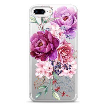 Snap iPhone 7 Plus Case - Purple Peony Watercolor Floral Bouquet