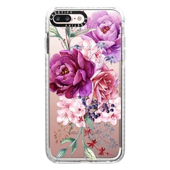 Impact iPhone 7 Plus Case - Purple Peony Watercolor Floral Bouquet