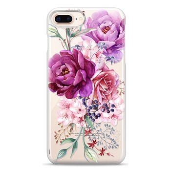 Snap iPhone 8 Plus Case - Purple Peony Watercolor Floral Bouquet