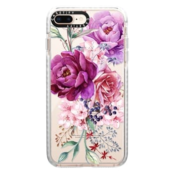 Impact iPhone 8 Plus Case - Purple Peony Watercolor Floral Bouquet