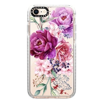 Impact iPhone 8 Case - Purple Peony Watercolor Floral Bouquet