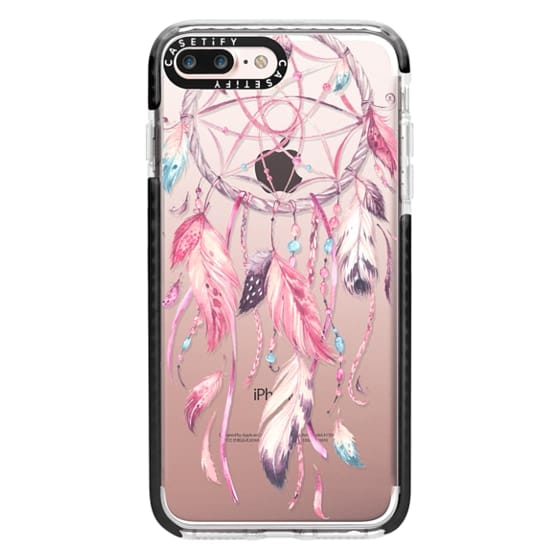 iPhone 7 Plus Cases - Watercolor Pink Dreamcatcher Feather Dream Catcher
