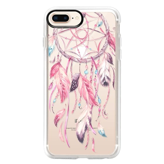 iPhone 8 Plus Cases - Watercolor Pink Dreamcatcher Feather Dream Catcher