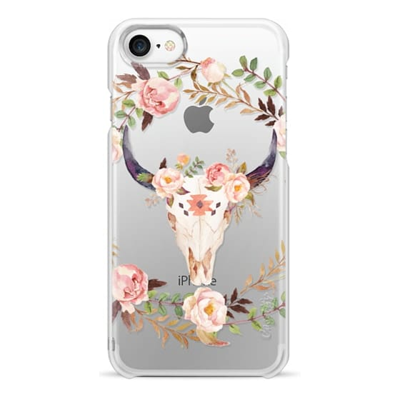 iPhone 7 Cases - Watercolour Floral Bull Skull - Transparent