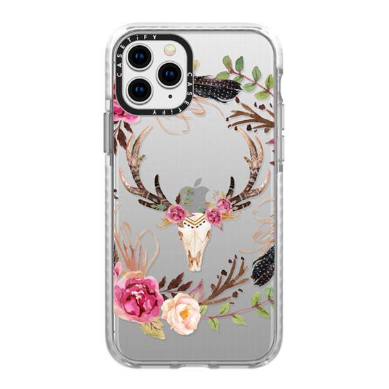 iPhone 11 Pro Cases - Watercolour Floral Deer Skull - Transparent