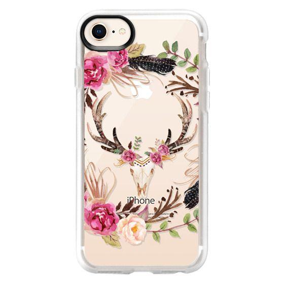 iPhone 8 Cases - Watercolour Floral Deer Skull - Transparent