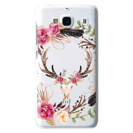 Redmi 2 Cases - Watercolour Floral Deer Skull - Transparent