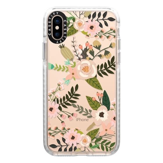 iPhone XS Cases - Peachy Pink Florals - Trasparent