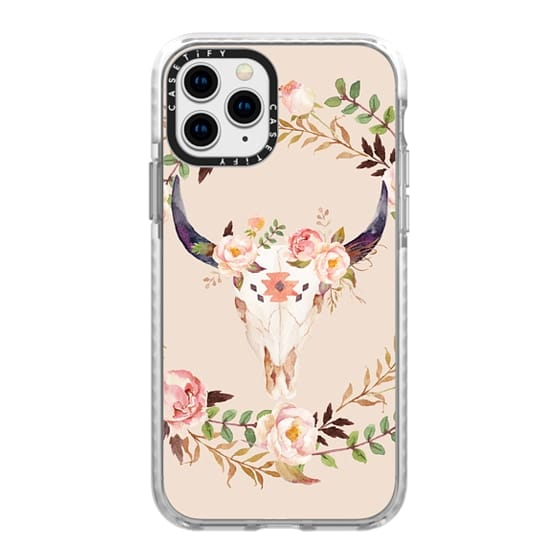 iPhone 11 Pro Cases - Watercolour Floral Bull Skull