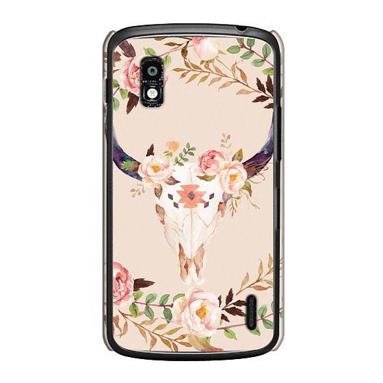Nexus 4 Cases - Watercolour Floral Bull Skull