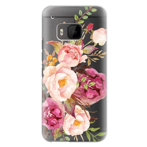 Htc One M9 Cases - Watercolour Floral Bouquet - Transparent