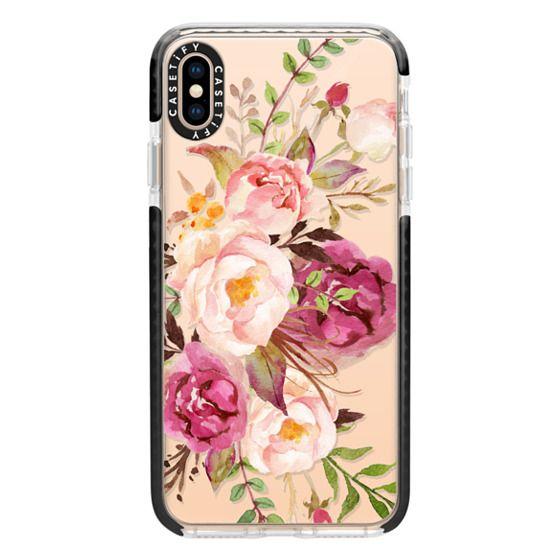 iPhone XS Max Cases - Watercolour Floral Bouquet - Transparent