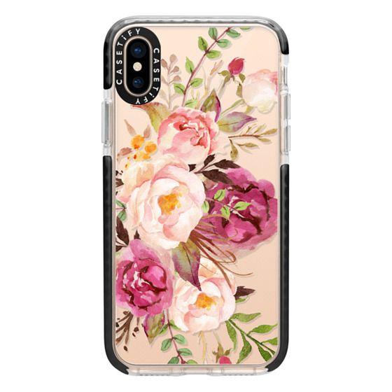 iPhone XS Cases - Watercolour Floral Bouquet - Transparent