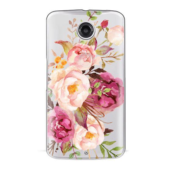 Nexus 6 Cases - Watercolour Floral Bouquet - Transparent