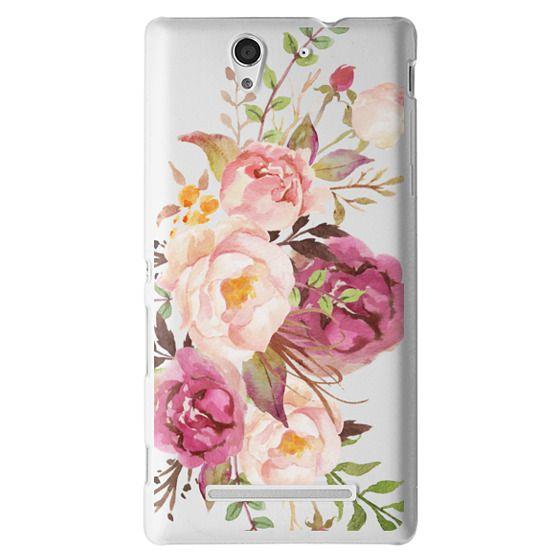 Sony C3 Cases - Watercolour Floral Bouquet - Transparent