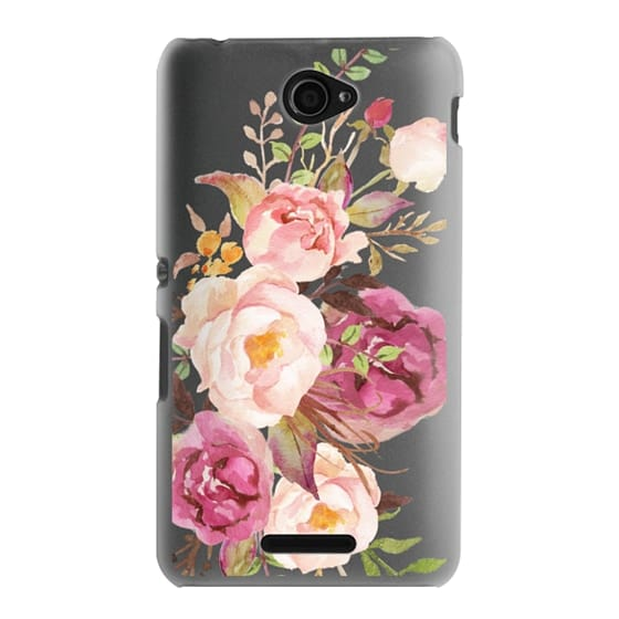 Sony E4 Cases - Watercolour Floral Bouquet - Transparent